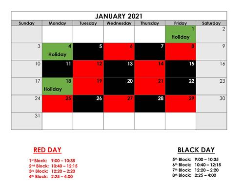 Red Days and Black Days for January