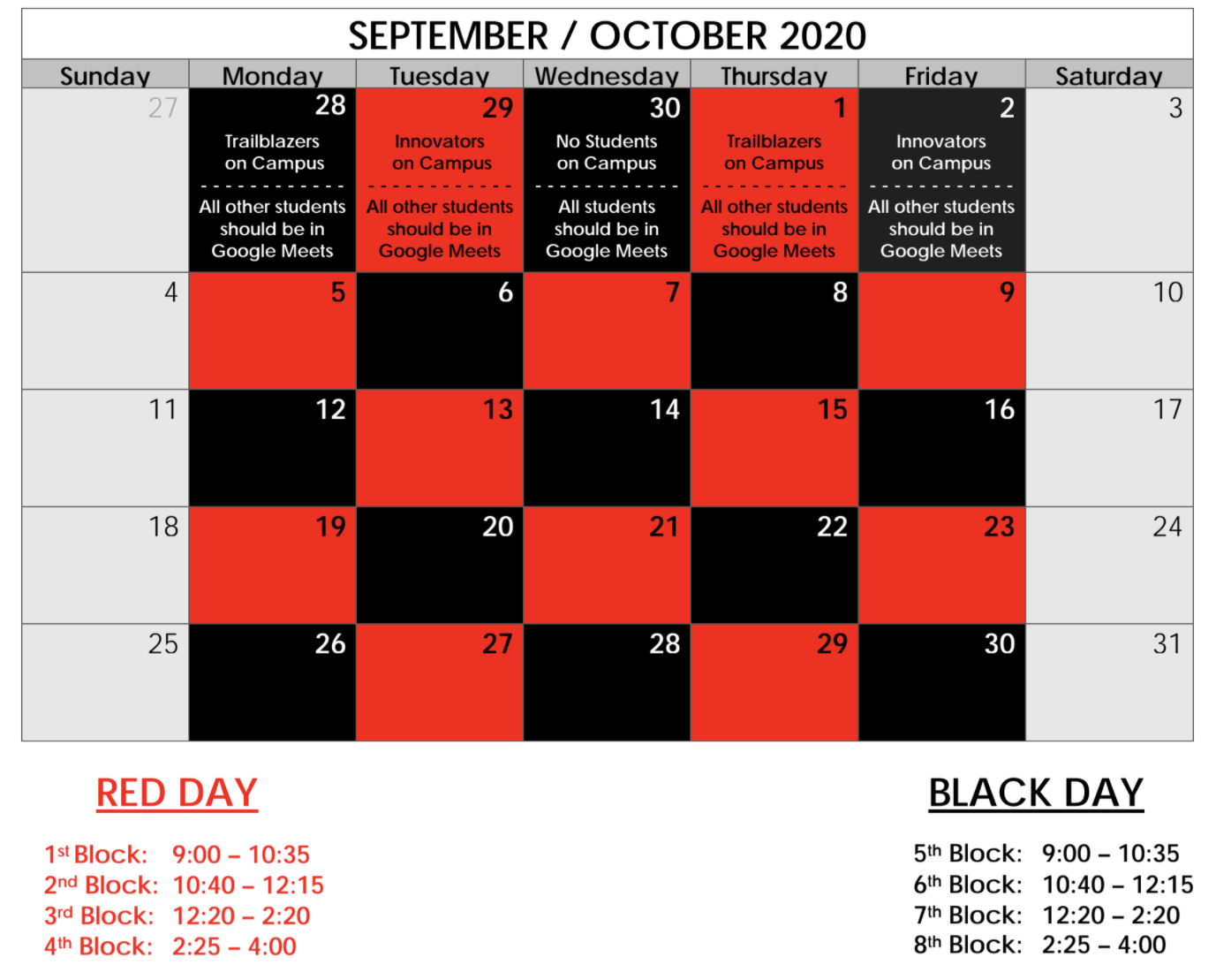 Red and Black Schedule for October